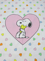 VTG Set of 2 Peanuts Snoopy Hearts Duvet Cover Cotton Pastel Fairy Kei RARE