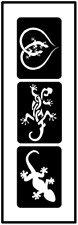 Glitzer Tattoo Schablonen 3 teilig Gecko, Airbrush