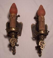 Vtg Art Deco Cast Brass Sconce Pull Chain Fixture Light Pair Rewired Usa #C78