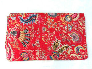 Traditional Indien Cotton Twin Kantha Quilt Throw Bedspread Blanket Floral Print