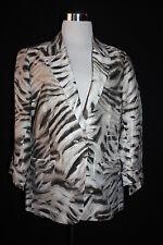 NWOT CHICO'S Women's Zebra Print LINEN Blend Lined Crop Sleeve Blazer Sz1(8) L22