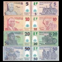 Nigeria 5 + 10 + 20 + 50 Naira Polymer Set of 4 Banknotes 2015 - 2018 4 PCS UNC