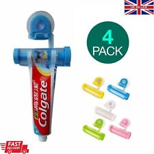 4x Toothpaste Dispenser Rolling Tube Squeezer Hanging Suction Wall Mounted UK