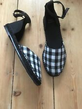 Womens shoes sandal black and white check uk 3 New M&S Collection vegan