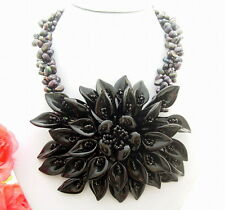 "Flower Statement Necklace 19"" Black Pearl Onyx"