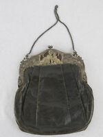 Museale Jugenstil Abendtasche aus Leder mit 800er Silberbügel um 1890 Selten!!!!