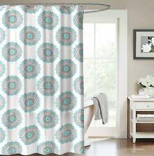 Aqua Green Grey Fabric Shower Curtain: Ornate Mandala Circle Design