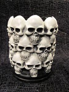 Multi Skull Pillar Candle Holder Halloween Decor