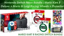 Nintendo Switch Console Neon + MARIO KART 8 Deluxe Mario AND Luigi Racing Wheels
