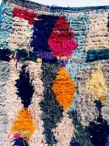 MORROCAN VINTAGE BOUCHEROUIT RUG, Berber HANDMADE AREA RUNNER Carpet tapis KILIM