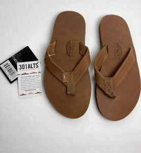 $60 Men's Rainbow 301 ALTS Sandals Flip Flops Sz Large 9.5-10.5 Tan