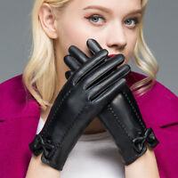 Women PU Leather Touchscreen Gloves Windproof Driving Gloves Winter Warm Glove