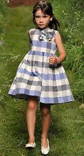 IL GUFO Leinen Kleid blau-ecru mit 3D Blumen Gr.116-152 NEU%SALE%