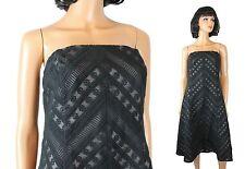 Ann Taylor Dress Sz 12 L Black Silk Chiffon Strapless Embroidered Cocktail Gown