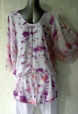 Long Tunic Top with Fringe and Drop Waist Draw String Open Shoulder Purple Sz 12