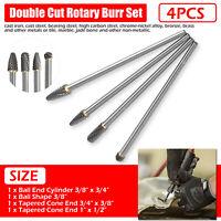 "4 Pcs Long Reach Double Cut Carbide Rotary Burr Set 1/4"" Shank Polishing Bits US"