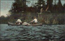 Jackman ME Canoe Canoeing Little Big Wood Camps c1910 Postcard