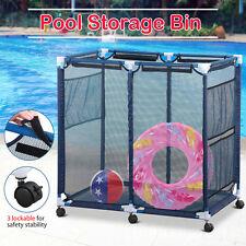 Pool Storage Bin Mesh Net Rolling Cart for Toys Towels Swimming Pool Equipment