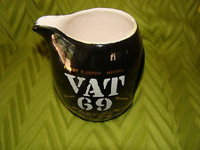 Vintage VAT 69 Scotch Whisky Black Water Jug Pitcher Barware