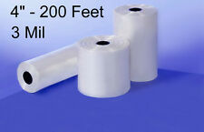 "200' feet of 3 Mil 4"" CLEAR POLY TUBING Heat Seal FDA Flat Plastic .003 Roll"