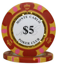 100pcs 14g Monte Carlo Poker Club Casino Poker Chips $5