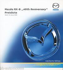 MAZDA rx-8 40th Anniversary listino prezzi 15.1.08 price list 2008 auto automobili Giappone