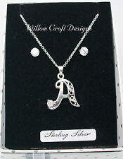 LOVELY STERLING SILVER ALPHABET PENDANT NECKLACE & EARRINGS SET Sold as One Item