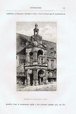 Monument to Saint Romain, Rouen, France  - 1881 Copper Engraving
