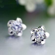 AAA Cubic Zircon 925 Sterling Earring Silver/Purple Pure Silver Ear Crystal Stud