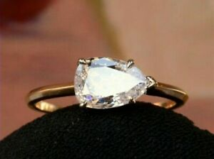 1.60ct Pear Diamond 14K Yellow Gold Fn Vintage Engagement Wedding Ring