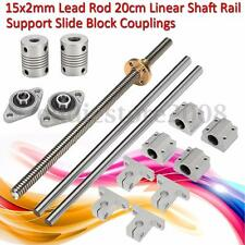 15pcs CNC Linear Shaft Rail + Lead Screw Rod + Mount + Bearing Block 8x200mm Set