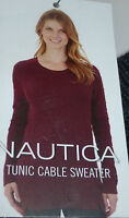 SALE!!!  Womens NAUTICA Long Sleeve Tunic Cable Sweater Long, Various, NWT