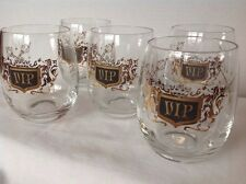 5 Vintage MID CENTURY Modern Roly Poly Tumblers VIP Black Gold Mad Men Era