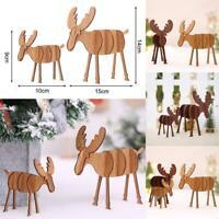 Christmas Wood Elk Deer Ornaments Xmas Tree Hanging Pendant Gift Decoration UK