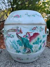 NICE CHINESE QING PERIOD ROUND FAMILLE ROSE ANTIQUE PORCELAIN RICE POT COVER