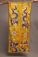 Antique Chinese Qing Dynasty Silk Embroidered textile Panel wall hanging 52X22