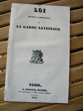 LOI relative à l'organisation de LA GARDE NATIONALE 1831