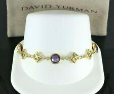 $3,500 David Yurman 18K Yellow Gold Amethyst Garnet DY Logo 7.5'' Bracelet 14.2g