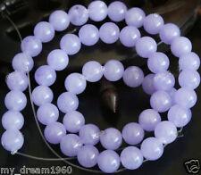 "Beautiful 8mm Lavender Jade Gemstone Round Loose Beads 15"""