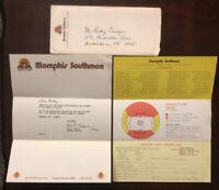 RARE 1974 WFL Lot Memphis Southmen Grizzlies Envelope,Schedule,Thank You Letter