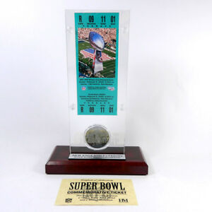 Highland Mint Super Bowl XXXVI Replica Ticket with Steel Coin
