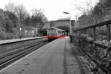 PHOTO  1990 HEATON PARK RAILWAY STATION A TRAIN FOR BURY IS AT THE DOWN PLATFORM