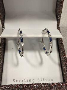 Sterling Silver Blue & White Sapphire Hoop Earrings