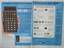 7/1973 PUB HP HEWLETT PACKARD HP-45 SCIENTIFIC CALCULATOR CALCULATRICE AD