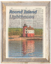 Round Island Lighthouse Mackinac Altered Art Print Upcycled Vintage Dictionary
