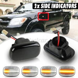 2X Dynamic LED Side Indicator Repeater Fender Light For Toyota Hilux Vigo