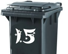 3x LARGE WHEELIE BIN VINYL DECALS STICKERS CUSTOMISED HOUSE NUMBER AND STARS #5
