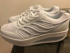 Ali&Boy Shoes, White Tennis Shoes, 9M, Leather Upper, Med 2 Inch Heel, Lace Up