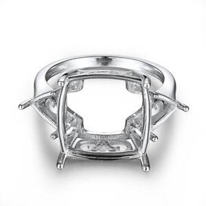 Emerald&Trillion Cut 15x15mm & 7x7mm 14K White Gold Fine Jewelry Semi Mount Ring