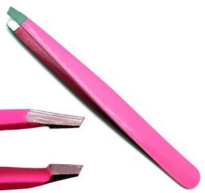 Beauty Eyebrow Hair Removal Pink Tweezer Professional Slanted Tip Tools